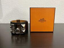 Hermes Collier de Chien CDC Bracelet Black And Silver Sz Large Original Receipt