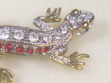 Gecko Lizard Designer Pin Brooch With Swarovski Red Crystals Db-800Wrup