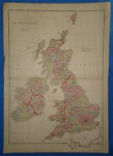 Vintage 1875 THE BRITISH ISLES - ENGLAND MAP ~ Old Antique Original Atlas Map