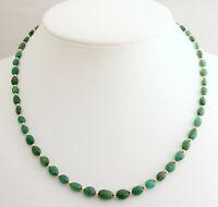 Natur Smaragd Kette Smaragd aus Brasilien Grün Oval Schöne halskette Damen 47 cm