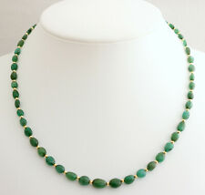 Natural Emerald Chain from Brazil Green Oval Beautiful Necklace Ladies 18 1/2in
