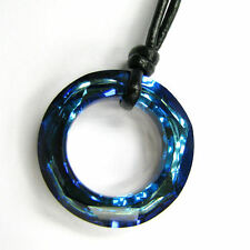 Swarovski Elements Crystal Angel Ring Pendant Black Leather Adjustable Necklace