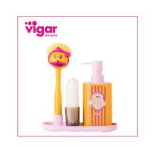 Funky Duck 🐥 Kitchen Dish Brush Soap Dispenser & Sink Side Set by VIGAR 🧽