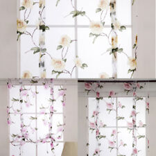 Beauty Floral Roman Curtain Sheer Tie Up Window Balloon Shade Sheer Voile