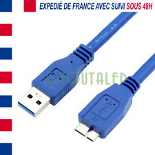 CABLE CORDON MICRO USB 3.0 30CM BLEU DISQUE DUR EXTERNE VERBATIM SAMSUNG S5 NOTE