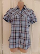Timberland UK Taglia 8 Maniche Corte Blu A Quadri Camicia in cotone con colletto