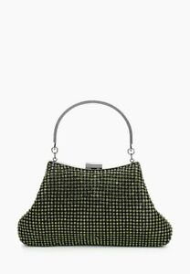 ! Ex Topshop ! Clutch Bag Diamanté Green Ladies BNWT RRP £29 Free P&P