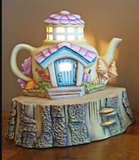 Ceramic Bisque Ready to Paint Lighted Cozy Teapot Fairy Cottage on log base