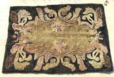 Antique Hooked Rug American Nouveau Folk Art & Crafts Primitive Really OLD!!