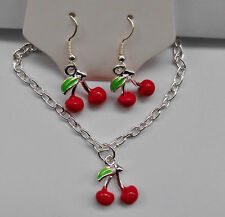 Rockabilly Necklace Cherry Necklace & Earrings, Retro, Cherries, Kitsch Vintage.