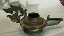 ANTIQUE ANCIENT CHINESE BRONZE BUDDHIST TEMPLE OIL LAMP