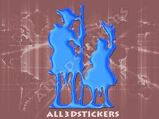 Pegatina Don Quijote y Sancho Panza 3D Relieve - Color Azul Electrico