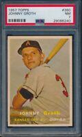 1957 TOPPS BASEBALL JOHNNY GROTH CARD #360 PSA 7 NM #29086240