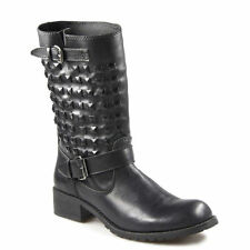 Buckle Flat (0 to 1/2 in.) Leather Solid Boots for Women