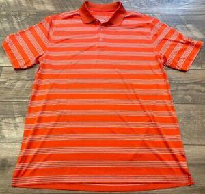 NIKE driFIT Tour Performance Orange White Golf Athletic Polo Shirt mens L 452505