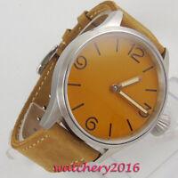43mm PARNIS steril dial Steel Case Handaufzug mechanisch Uhr men's Wristwatch