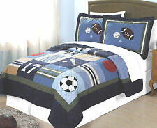 BOYS ALL STATE Twin Single QUILT BED SET : TEEN SPORTS FOOTBALL SOCCER BASEBALL