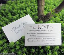 40 RSVP CARDS reply for wedding invitations Silver Foil Writing