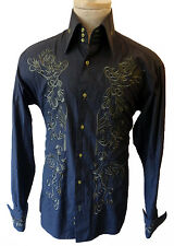 Embroidered Gothic Victorian Renaissance collar steampunk tuxedo medium shirt m
