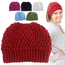 Men's Women's Hat Ladies Knit Hat Ponytail Beanie Holey Warm Hats Caps Paragraph