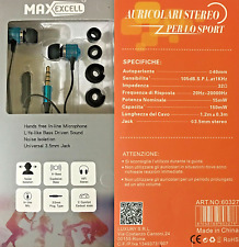 AURICOLARI BLU STEREO JACK 3.5 MM SPORT 1.2 METRI CUFFIE MICROFONO IOS ANDROID