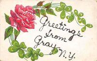 New York NY Postcard c1910 GRAY Greetings from Gray Glitter
