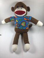 "9"" plush Sock Monkey doll, made by Dan Dee With Heart Shirt"