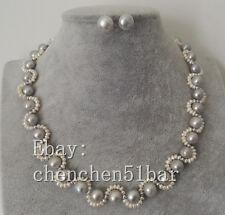 2 Stränge 2-9mm weiß grau Barock Süßwasserperle Twist Halskette 17-Zoll-Ohrringe