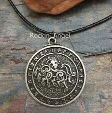 Antique Silver Plt Sleipnir Runes Pendant Necklace Ladies Mens Gift Viking Norse