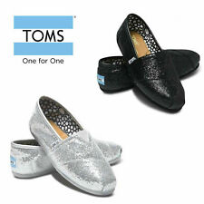 Women's Toms Glitter Classic Canvas Flat Slip On Style Shoes US Size