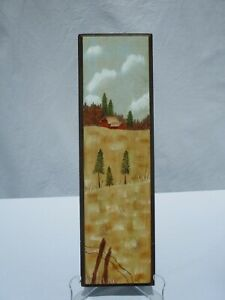 Vintage Farm Painting on Wood - Tall Wheat Red Barn Fence Hanging - Initialed DL