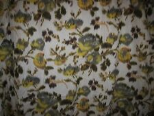 100% COTTON LAWN FABRIC ivory apricot brown yellow gray WATERCOLOR ROSES 3Y