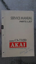 Akai cs-732d service manual parts list stereo cassette tape deck player original