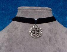 Tibetan Silver Pentagram Amulet Black Velvet Choker Necklace.Handmade