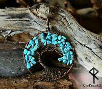 Lebensbaum Anhänger, Keltische Yggdrasil Halskette,Türkis Wikinger Amulett