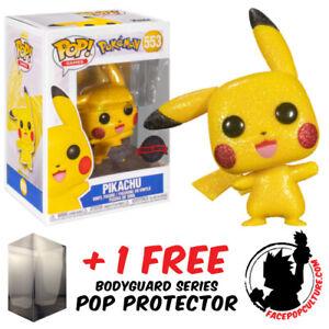 FUNKO POP VINYL POKEMON PIKACHU DIAMOND GLITTER #553 EXCLUSIVE + POP PROTECTOR