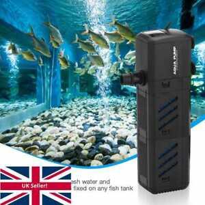 4In1 Aquarium Fish Tank Water Pump Internal Purifier Filter Oxygen Wave Power UK