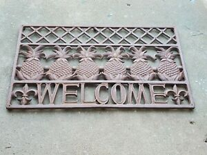 Brown Wrought Cast Iron Metal Welcome Pineapple Fruit Home Front Door Doormat