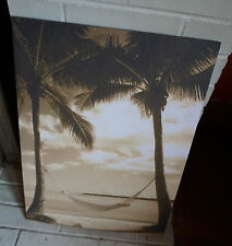 HAMMOCK BEACH PALM TREE PARADISE Rustic Tropical Sepia Home Decor Sign NEW