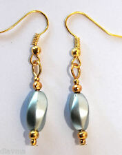 gold and grey swirl bead earrings - jewellery