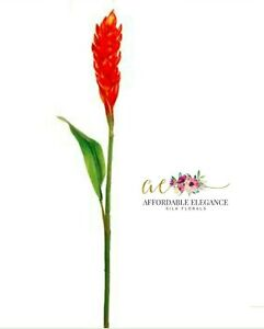 """30"""" Orange Ginger Lily Artificial Flower Tropical Plant Fake Faux Stem Spray"""