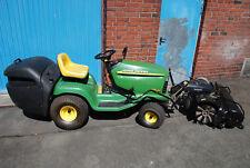Traktor John Deere, Gartentraktor, Tielbürger Kehrmaschine