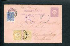 1882 Cijfer + WIII bijgefr. bk VIA BRINDISI, Bergen op Zoom > Atjeh; NI.EXP.KNT