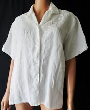 FIRENZE CAMICIA Vintage Shirt  TG.44 in LINO 100% Ricamata colore bianco-panna