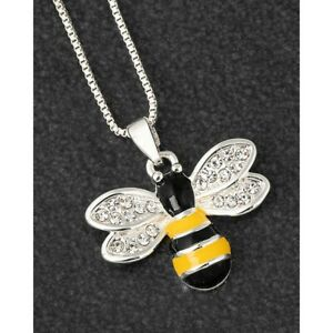 Equilibrium Handpainted Bumble Bee Silver Plated Necklace Sparkly Wings 2896260