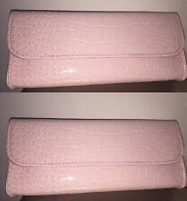 BareMinerals patent baby Pink faux Leather hard case Makeup Bag clutch purse New