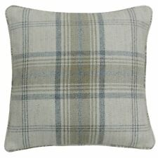 "TARTAN CHECK WOVEN WOOL LOOK BEIGE PIPED 18"" - 45CM CUSHION COVER"
