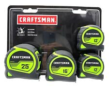 4-Pack! Craftsman Hi-Vis High Visibilty Tape Measures (2)12ft (1)16ft (1)25ft