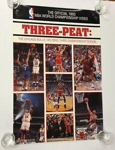 1993 NBA Finals Three-Peat Chicago Bulls Michael Jordan Poster VHS Vintage Rare