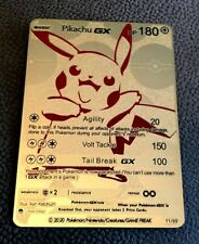 Pokemon Pikachu GX Gold Metal Custom Card